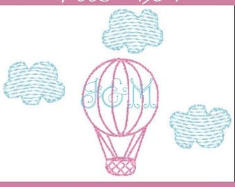 Sketch Outline Hot Air Balloon Embroidery Design - 3.75x2.75