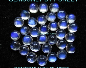 30pc 6mm Rainbow Moonstone round cabochon 6mm blue flash rainbow moonstone blue rainbow blue on top best price excellent quality full flash