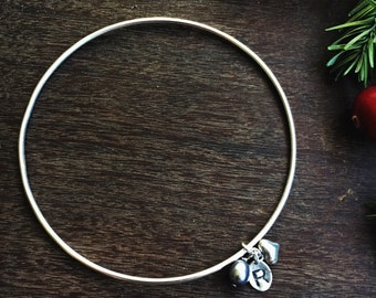 Sterling silver personalised bangle, personalized bracelet with initial and pearl
