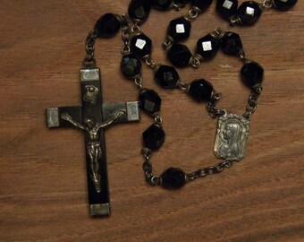 Antique rosary necklace pendant black glass beads Lourdes