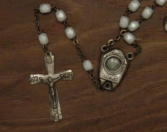 antique French rosary necklace pendant white faceted glass beads