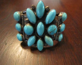 Bracelet Cuff with Sleeping Beauty Turquoise and Sterling