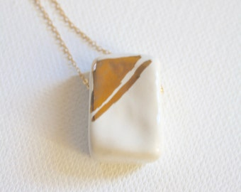 Gold Sketch Ceramic Bead Necklace // Gold and White long Pendant // Ceramic Jewelry // Gift for Women Christmas