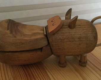 Vintage Mid Century Danish Modern Zoo Line Kay Bojesen Teak Hippo Trinket Dish