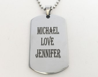 Personalized,Engraved Men's DogTag Necklace,Dog Tag, Silver Color Dog Tag Necklace-Military Dog Tag-Valentine's day, Anniversary gift