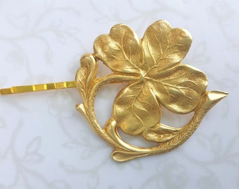 Four Leaf Clover Hair Pin, Irish Bobby Pin, Lucky St. Patrick's Day, Woodland, Nature, Garden, Wedding, Boho Rustic