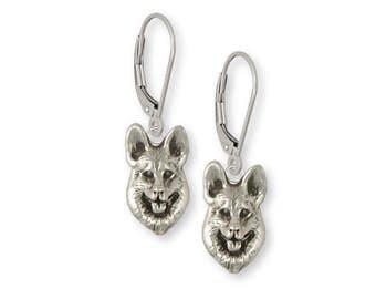 German Shepherd Earrings Jewelry Sterling Silver Handmade Dog Earrings GS22-E