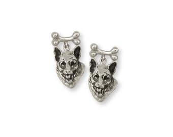 German Shepherd Earrings Jewelry Sterling Silver Handmade Dog Earrings GS2-BNE