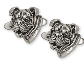 Bulldog Cufflinks Jewelry Sterling Silver Handmade Dog Cufflinks BD7-CL