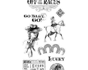 Graphic 45 OFF To The RACES 1 Cling Stamps IC0368S cc55