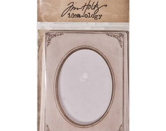 Tim Holtz Idea-ology MINI CABINET CARDS 6 FRAMEs Vintage Styled Frame For Displaying 3x3 photos Embellishments cc1x