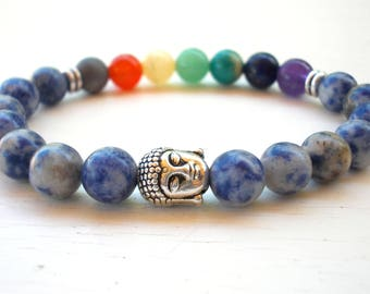 Jasper Chakra bracelet, Buddha bracelet, Seven Chakra and Buddha bracelet, Blue Jasper bracelet, Gemstone Mala bracelet, Chakra bracelet