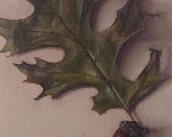 Original oil painting: Oak leaf and acorn 4x6""