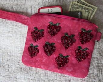 Peach Strawberry Beaded Bag