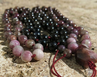 Pink Tourmaline 8mm mala, 108 beads. Hand knotted, Transformation, Love, Protection. Burgundy Thread
