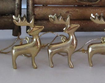 Small Brass Reindeer Ornaments, Set of 4