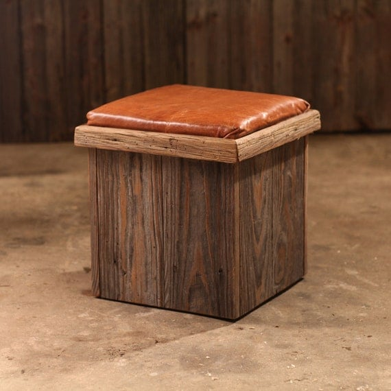 Reclaimed Wood Ottoman ~ Ottoman leather and reclaimed barn wood upholstered cushion