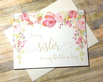 To my sister on my wedding day - thank you card for maid of honor - vintage for bridesmaid - wedding day card for my best friend - HEIRLOOM