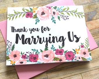 Card for Officiant - Thank You for Marrying Us - Card for Priest - Pastor - Officiant - Rabbi - Thank You for Marrying Us Wedding Card