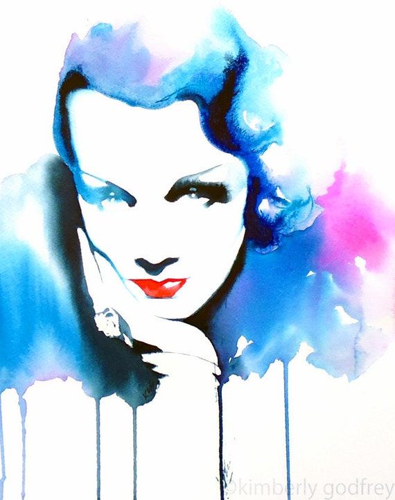 Film noir 1930s fashion illustration original watercolor painting