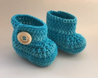 Turquoise baby booties, baby shoes, crochet baby shoes, crib shoes, baby, baby footwear, booties, baby slippers, crochet