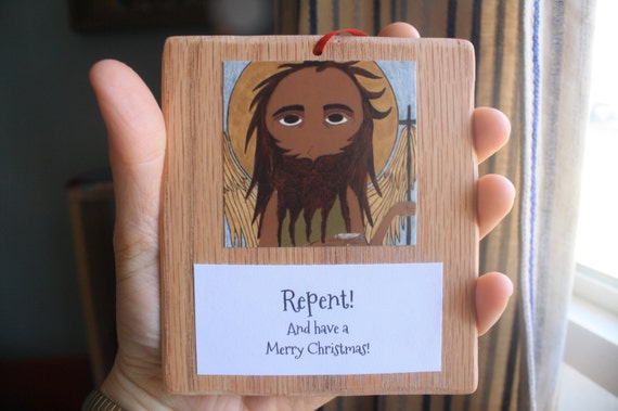 Ready to Ship John the  Baptist Icon on Wood Ornament