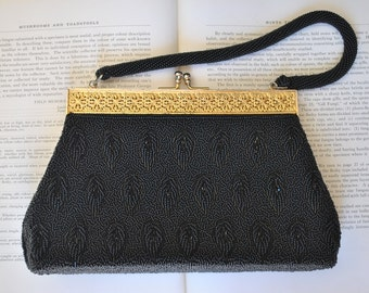Vintage Black Glass Beaded Purse - 1960s Beaded Handbag