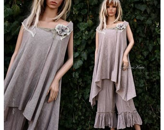 Nelli-Dress - Two Parted Linen Tunic Dress with Pants Lagenlook Plus Size Clothing