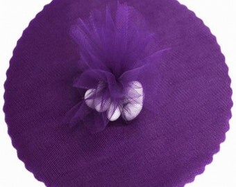 "100 Scalloped Tulle Circles 9"" Wedding Favor Wrap - Purple"