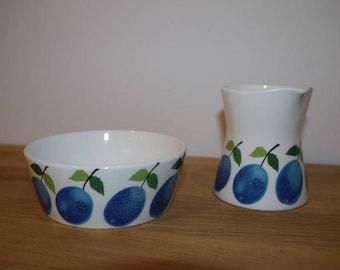 Stig Lindberg - PRUNUS - Sugar Bowl + Creamer - Gustavsberg - Retro - 60s - Sweden - Design