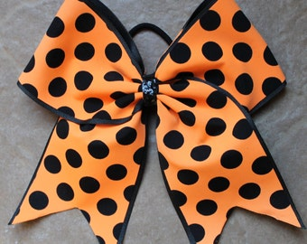 Cheer Bow  Orange with Black dots
