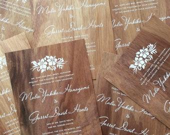 Oak & Orchid Wood Wedding Invitation Sampler