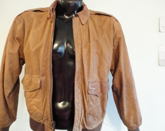 GIII Distressed Leather Bomber Jacket