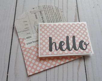 Mini Note Cards -- Love Notes -- Lunch Box Notes -- Card and Envelope Set -- Gift Card Holder -- Hello Card