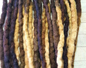 Wool Dreads Handmade Hair Extensions Wool Dreads Ombre Hair Accessories Set of 30 Singles