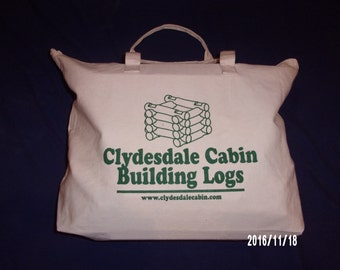 Handmade 'Lincoln Logs' extra large 234 piece set in handy tote bag