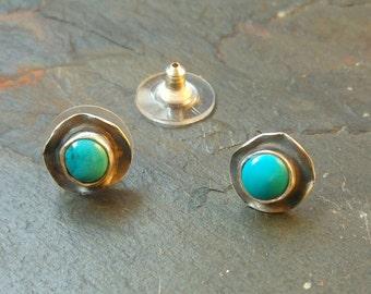 Turquoise Stud Earrings, Stud Earrings,  Sterling Silver Earrings, Kingman Turquoise Earrings, Turquoise Earrings, Rustic Earrings, Studs