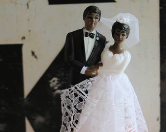 Vintage African American Retro Bride Groom Cake Topper Traditional Wedding Couple From 1960s
