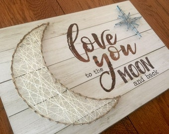 The Board String Art Project | Love you to the Moon - shiplap look background - 18 x 12