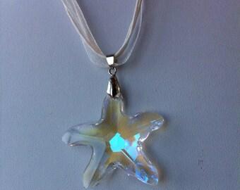 Necklace starfish austrian crystal star pendant jewellery beach wedding