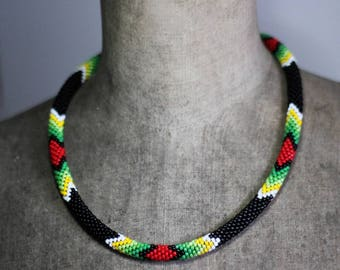 Black and Green Native American Inspired Necklace, Handbeaded Necklace, Bead Crochet Rope, Ethnic Southwestern Beadwork