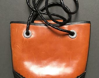 Vintage BRIGHTON Genuine Leather Brown/Black shoulder bag