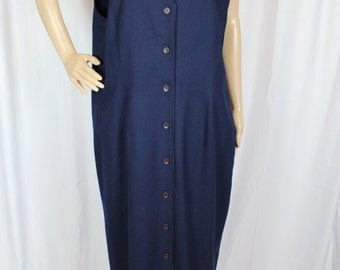 Navy wool button up dress