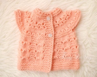 Mohair Baby Sweater, Peach Baby Sweater, Peach Baby Cardigan, Newborn Sweater, Baby Girl Cardigan, Baby Girl Sweater, Knit Baby Clothes