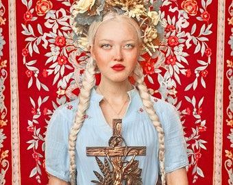 "Postcard art photography ""Christos Voskres"" traditional Bohemian folklore folk greeting card slave Catholic Christian religious art"
