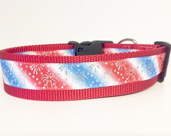 "1.5"" wide July 4th - Memorial Day - Stars and Stripes Dog Collar - Flag - American - USA - Puppy - dog gift - holiday -"