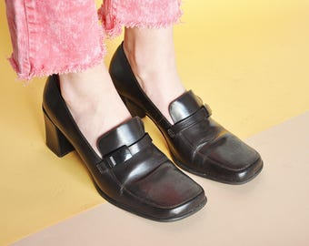 90s CHUNKY loafers HEEL loafers MOD loafers minimal loafers preppy loafers square toe loafers prep loafers / size 9.5 us / 7 uk / 41 eu