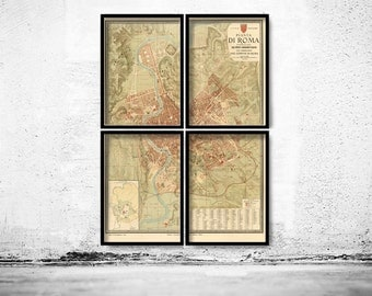 Old Map of Rome Italy 1891 (4 pieces)