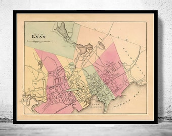 Old Map of Lynn 1871 Massachusetts