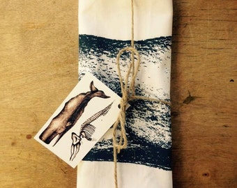 Hand Screen Printed Sperm Whale Tea Towel by Hare Raising Designs